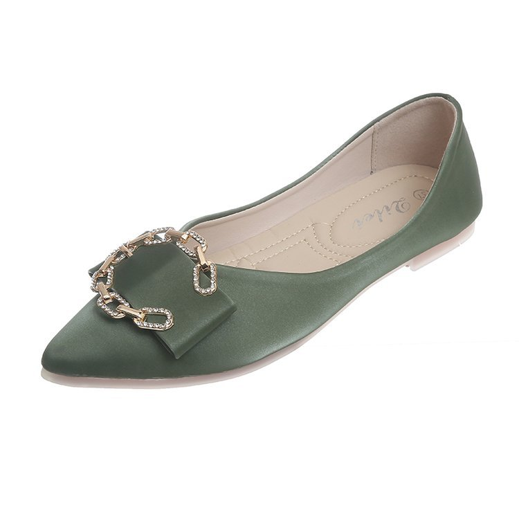 Women's Flats Pointed-Toe Slip-On Autumn Fashion Crystal Casual Solid All-Match 35-40