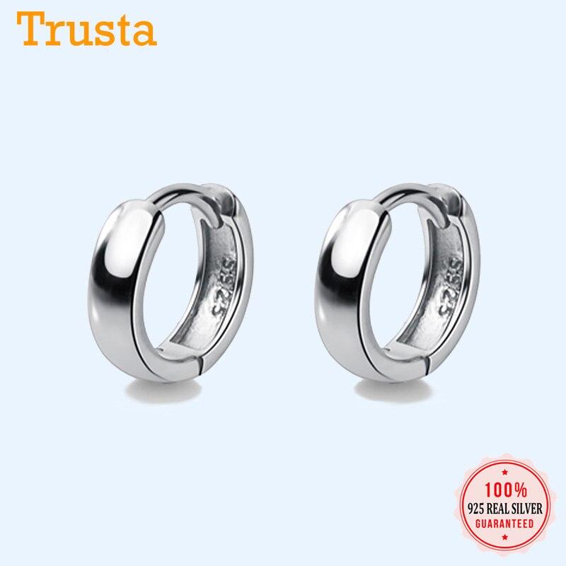 TrustDavis homme/femme 925 argent Sterling boucles d'oreille cerceau mignon soigné cadeau pour filles/garçons beaux bijoux accessoire cadeau de fête DA1417