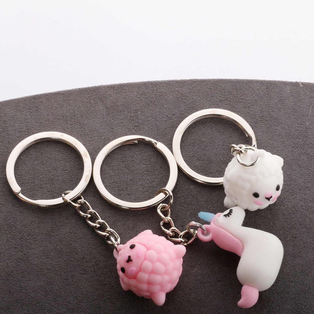 Lalki z kreskówek brelok śliczne alpaki jednorożec miękki gumowy klucz wisiorek kreatywne rzemiosło prezent