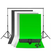 ZUOCHEN Photo Studio toile de fond réglable Support Support Kit 1.6x3 m noir/blanc/vert/gris toile de fond écran