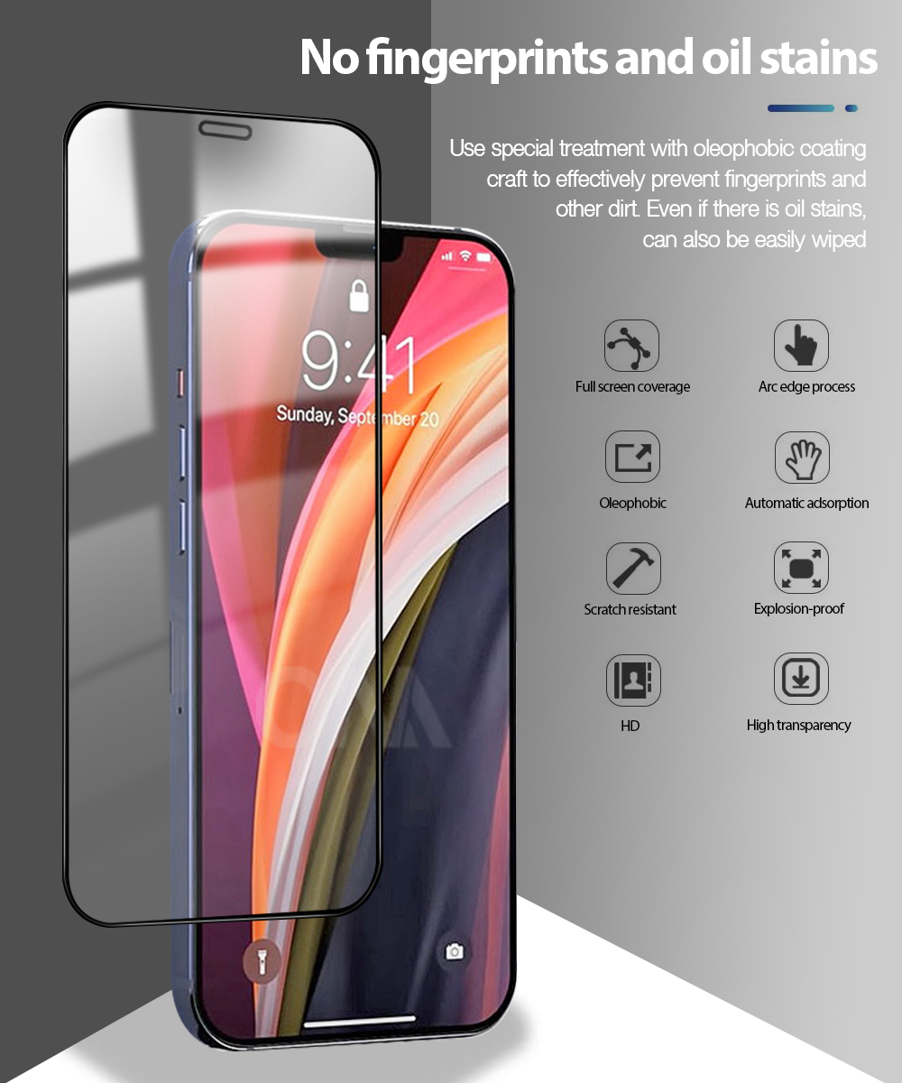 Screen Protector for iPhone 12 Mini / 12 Pro / 12 Max Tempered Glass Premium Full coverage Protection Film for iPhone 12 Pro Max