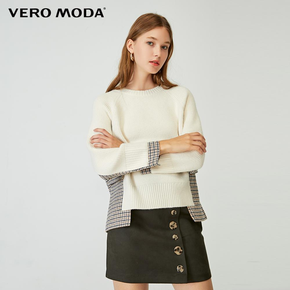 Vero Moda Women's Asymmetrical Houndstooth Spliced Round Neckline Knit | 320113521