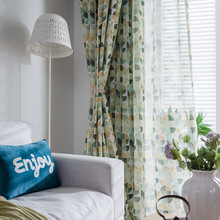 Modern Simplified European Color Semicircle Polyester / Cotton Printing Curtains for Living Dining Room Bedroom.