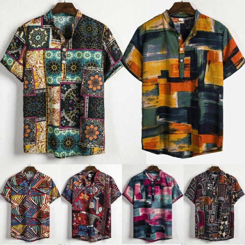 Hawaii V-Neck Shirts Men's Linen Short Sleeve Shirt Summer Cool Loose Hawaii V-Neck Shirts Tops Men's Linen Short Sleeve Shirt
