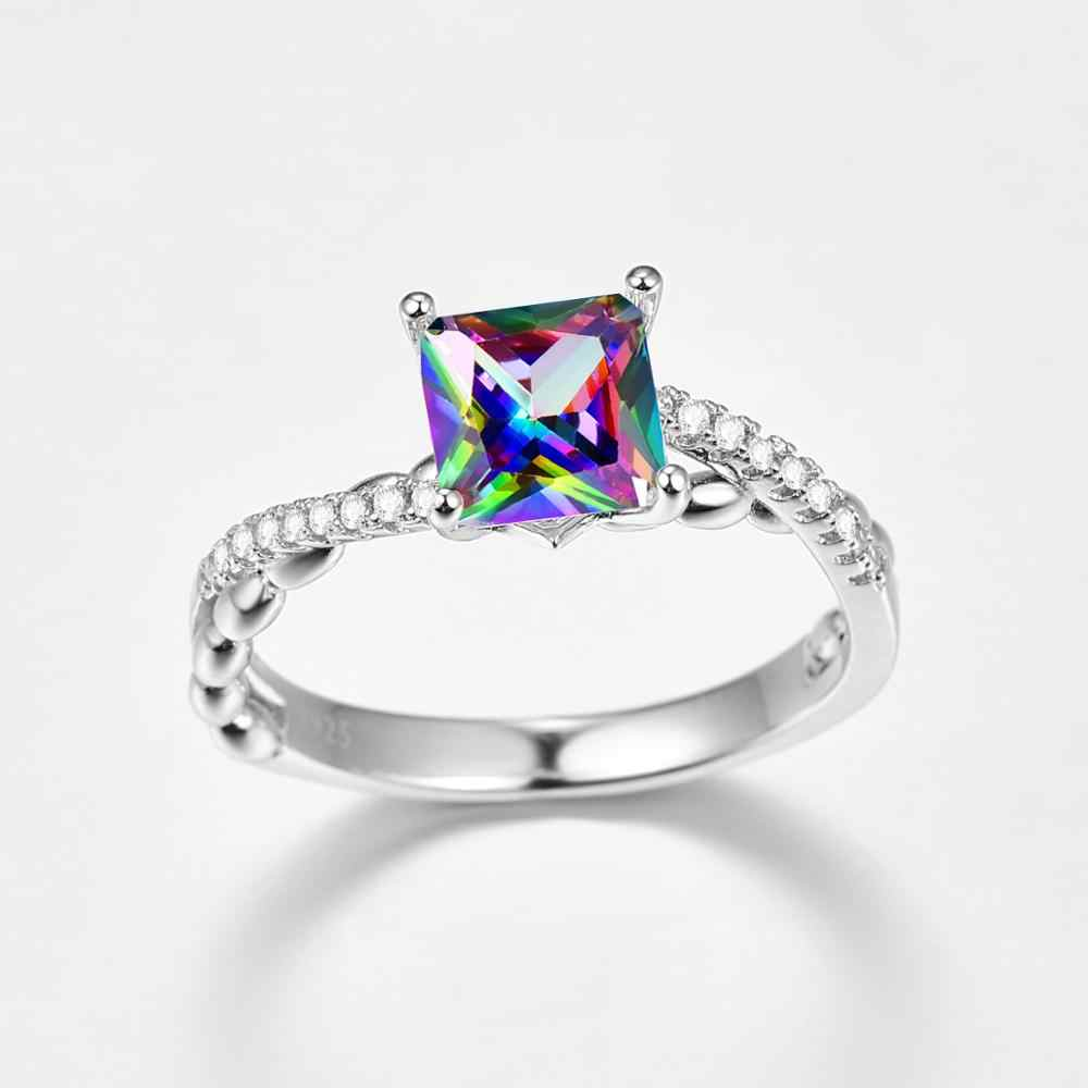 J.C Princess Cut biały Topaz i Mystic Rainbow 925 srebrny pierścień rozmiar 6 7 8 9 kobiety biżuteria ślubna dla nowożeńców prezent