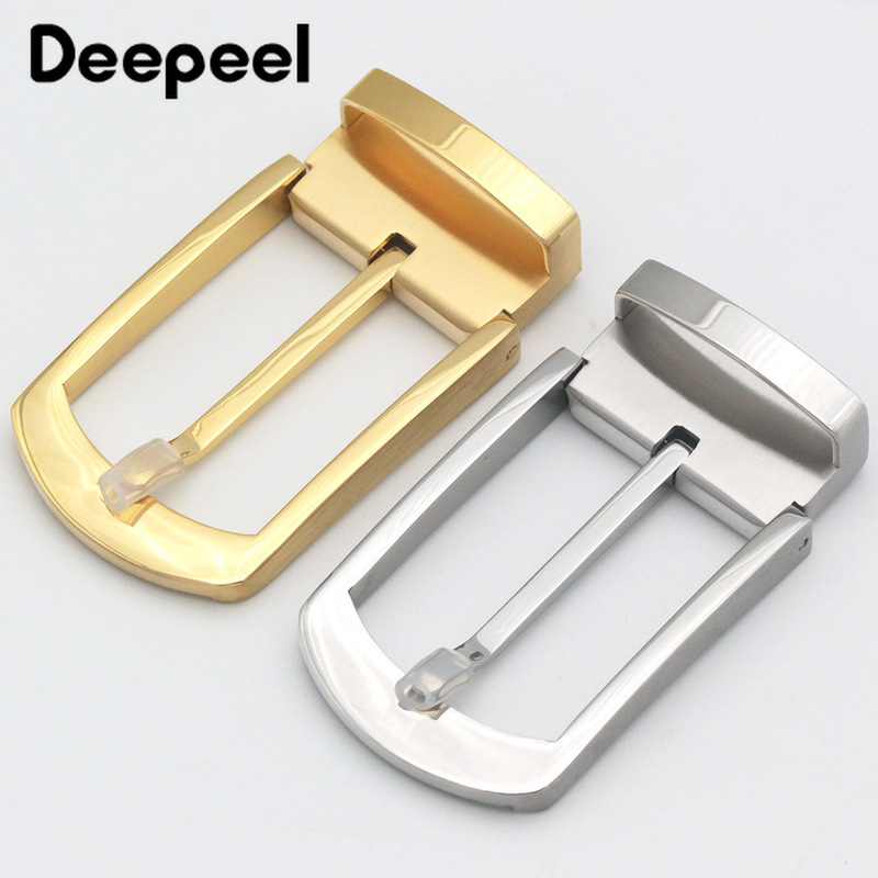 Deepeel1pc35/39mm Men's Hand-polished Stainless Steel Belt Buckle DIY Simple Pin Buckle Head Business Waistband Decoration BD463