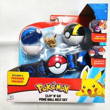 TAKARA TOMY – ceinture de transport en PVC, ensemble de jouets, figurines Pokemon, dessin animé, Pikachu, Eevee Clip N GO