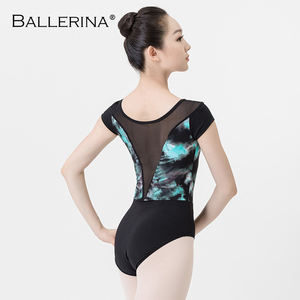 Image 2 - ballet dance leotard for women Practice adulto gymnastics mesh short sleeve printing leotard Ballerina 3546