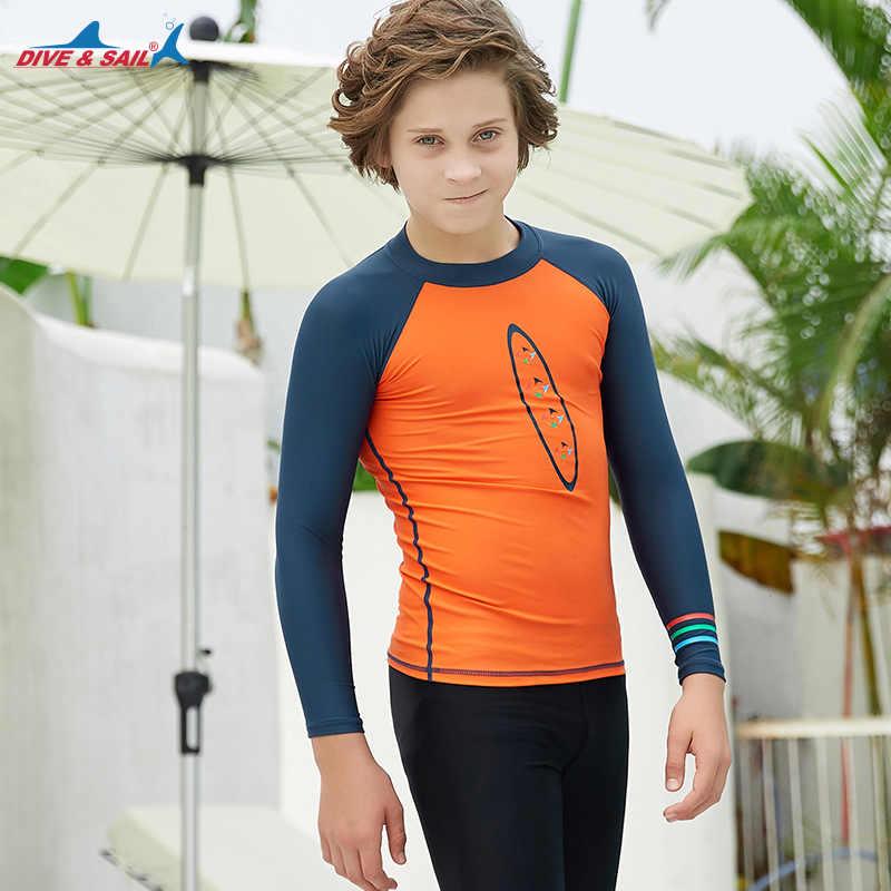 الشباب الاطفال UPF 50 + السباحة قميص طويل الأكمام ضيق صالح ضغط السباحة المحملة Rashguard أعلى الشمس UV حماية ملابس السباحة بحر H