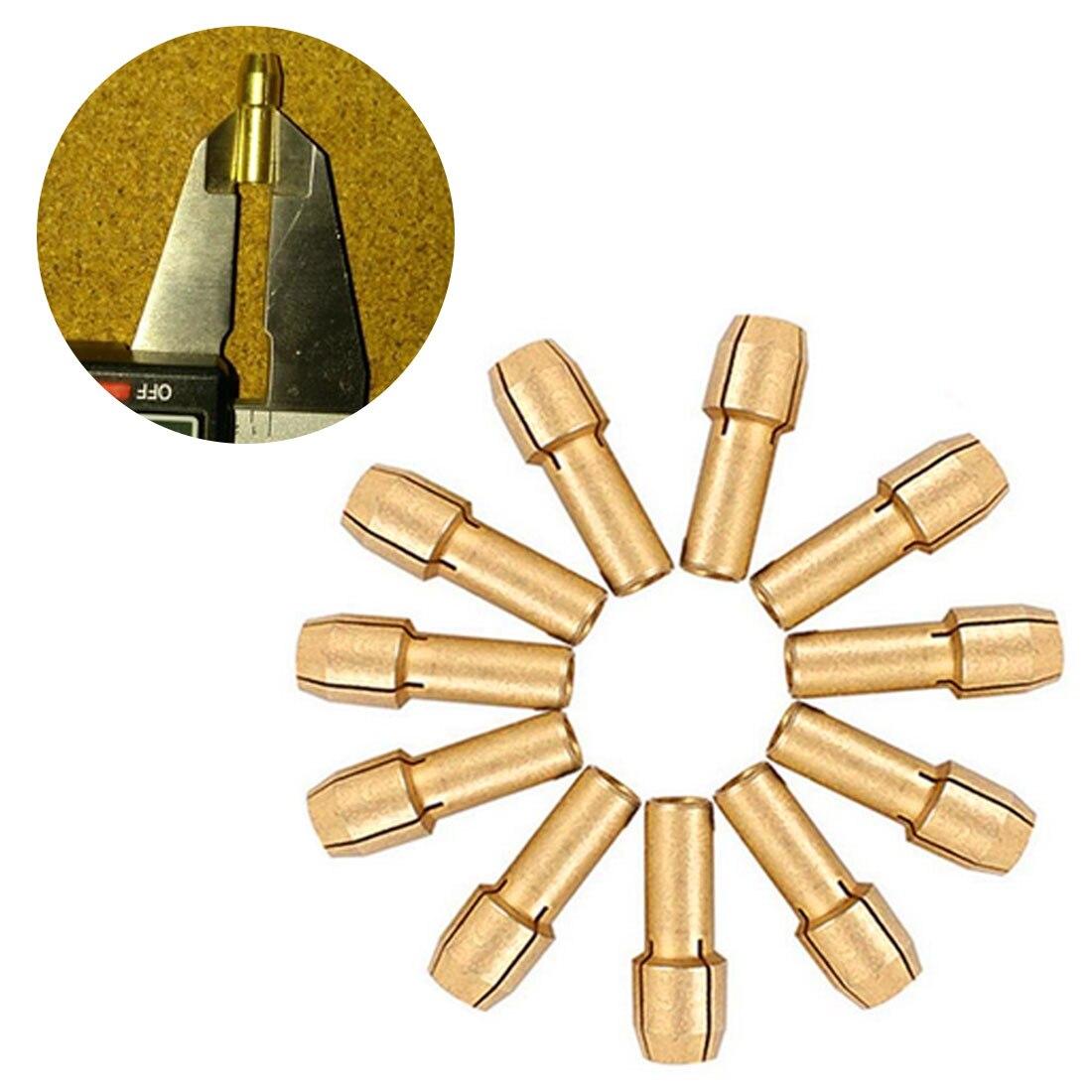 4mm Shank Diameter 11pcs Brass Drill Chucks Collet Bits 0.5-3.2mm For Dremel Rotary Tool