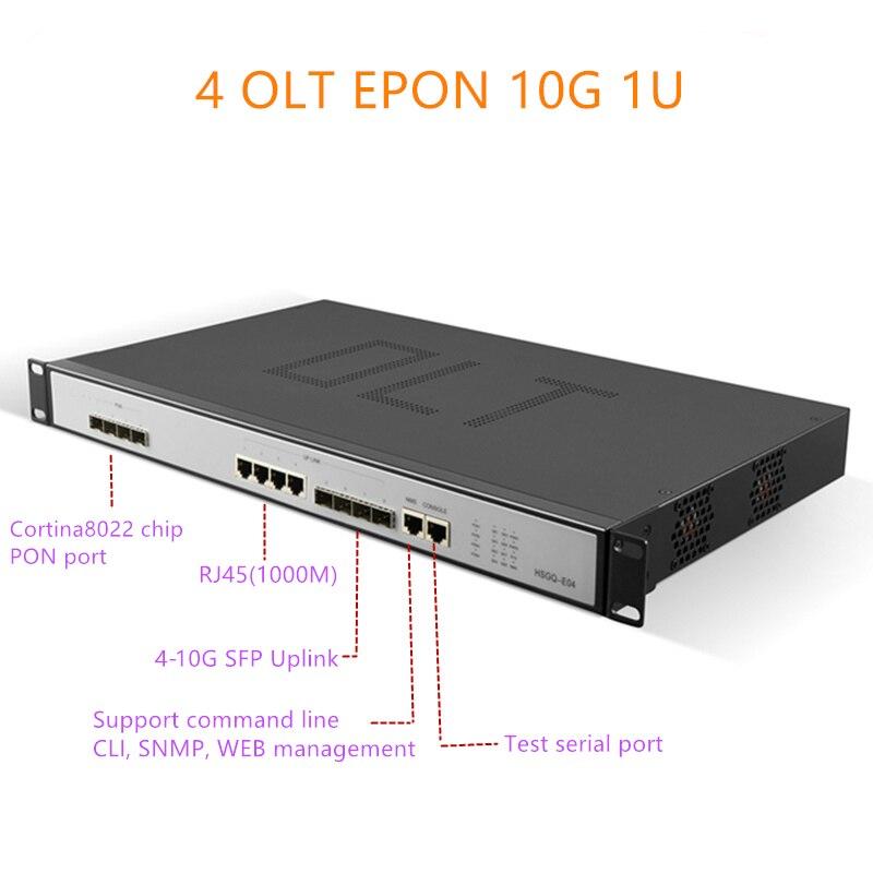 EPON OLT 4 ports E04 1U EPON OLT 1.25G/10G liaison montante 10G 4 ports pour Triple lecture olt epon 4 pon 1.25G port SFP PX20 + PX20 + + PX20 + +