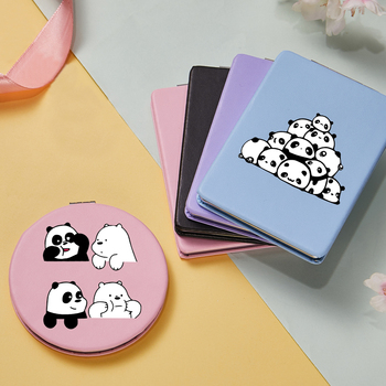 New Cute Panda Pattern Makeup Mirror Mini Portable Two-side Folding Pocket Compact Cosmetic Vanity Magnifying Mirrors Girls Gift girls panda pattern jumper