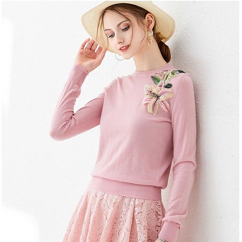 EXCOSMIC 3D Flower Autumn 100%Wool Sweater Women Pullover pink sweters women invierno 2019 casaco feminino