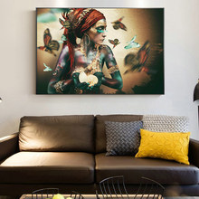 African Woman with Butterfly Canvas Painting Abstract Posters and Print Modern Style Wall Art Pictuer for Living Room Home Decor