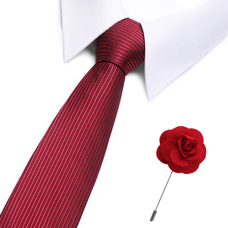 7.5cm Necktie New Classic Men's Red Soild Wedding Ties Jacquard Woven 100% Silk Men  Tie  Neck Ties With Flower Pin