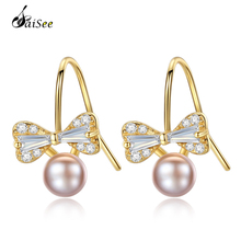 SaiSee New 3 Colors 925 Sterling Silver Bow-Knot Natural Freshwater Pearl Drop Earrings For Women Wedding Jewelry