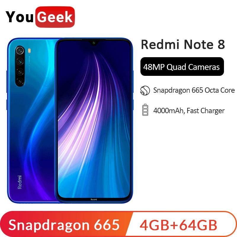 En Stock! Xiaomi Redmi Note 8 4GB 64GB Snapdragon 665 Octa Core téléphone portable 48MP Quad caméra arrière 6.3