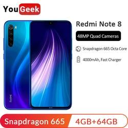 """W magazynie! Xiaomi Redmi Note 8 4GB 64GB Snapdragon 665 octa core telefon komórkowy 48MP Quad tylna kamera 6.3 """"4000 mAh 18W szybka ładowarka 1"""