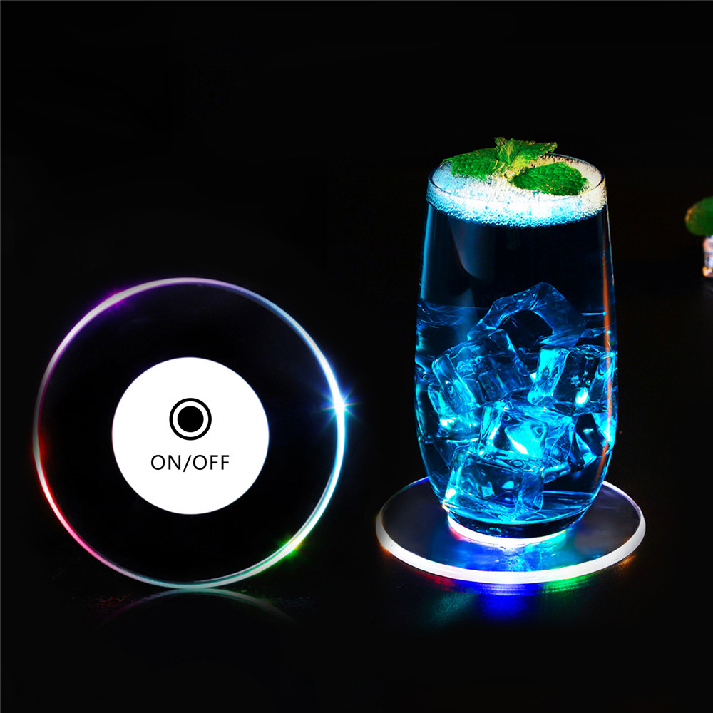 1Pcs Ultra-thin Acrylic LED Cocktail Coasters Flashing Glorifier Drink Cup Mat Wine Coaster Lights For Bar Event Wedding Party