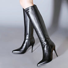 2020 Women Genuine Leather Knee High Boots Fashion Zipper Pointed Toe Boots Ladies Thin High Heel Winter Boots Black(China)