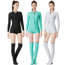 1.5mm Women Swimming Wetsuit dive suit Neoprene Jellyfish clothing Diving Snorkeling Swimming Water long sleeve+Stockings Suit цена