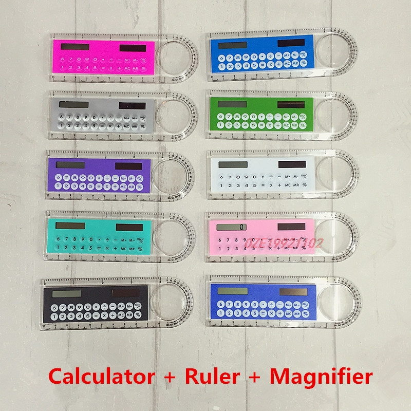1 Pcs Calculator Ruler Multifunctional Ten Colors Available 10cm Ruler Solar Calculator Magnifier