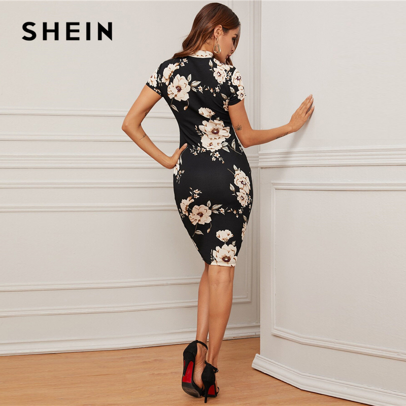 SHEIN Black Mock-Neck Floral Print Bodycon Dress Women 2020 Spring Stand Collar Short Sleeve Elegant Fitted Midi Dresses 2