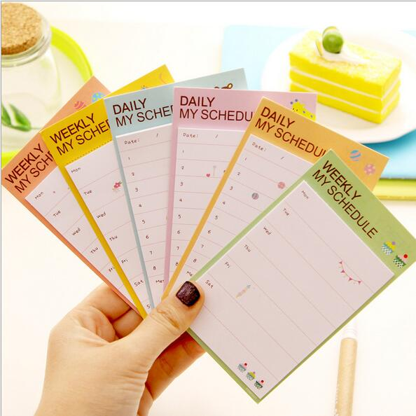 30packs/Lot Simple Daily My Schedule Notepad Sticky Note Memo Message Office Decoration Writing Scratch Stationery