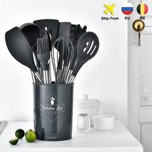 10/11PCSSilicone Mutfak Gereçleri yapışmaz Tencere Pişirme Aracı Spatula Pota Yumurta Çırpıcı Kürek Kaşık Çorba Mutfak Eşyaları seti
