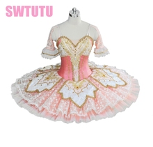 2014 New Arrival!adult High-grade pink ballet tutu with lace,flowers, perfromance for girls,competiton