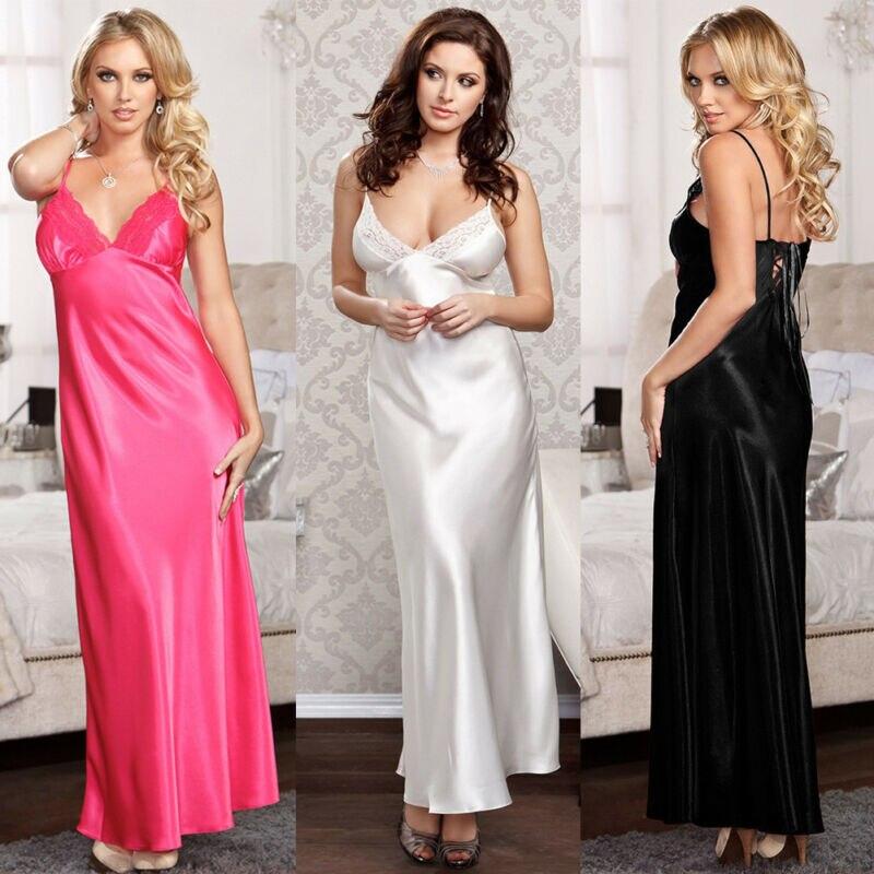 Women Summer Cooling Satin Silk Lace Long Sleepshirts Nightgowns Sleepwear Sexy V Neck Sleeveless Back Tie Up Nightdress