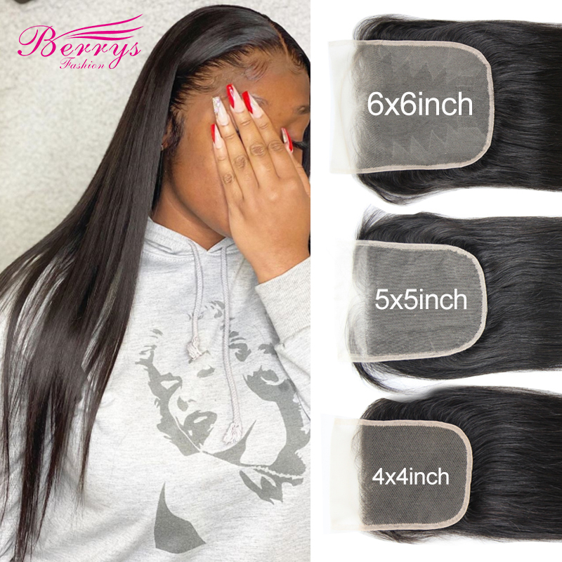 Transparante Vetersluiting 10-20Inch Braziliaanse Straight 4X4 & 5X5 & 6X6 vetersluiting Prepluncked Onbewerkte Human Hair Extensions
