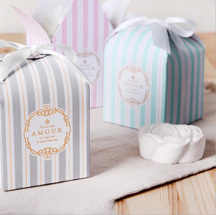 50 шт./лот, изящная маленькая упаковочная коробка Тиффани с синими и белыми полосками для выпечки, кондитерских изделий, печенья, Свадебные в...