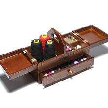 2-Tier drewniane koszyk na przybory do szycia pudełko do przechowywania wspornik rzemiosło artystyczne krawiectwo przypadku tanie tanio CN (pochodzenie) Przechowywanie Narzędzi do szycia i Haftu Drewna Sewing box Pudełka do przechowywania China Sewing Basket
