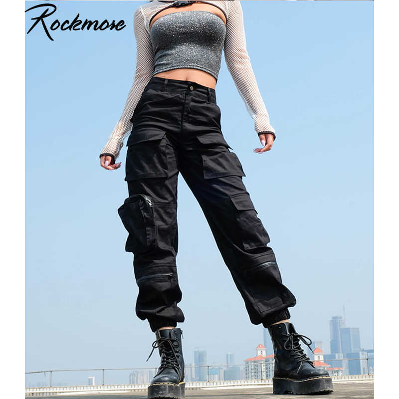 Rockmore Black Harajuku Cargo Pants Women Pockets Patchwork Hippie Trousers Fake Zipper Gothic High Waist Streetwear Pant Fall