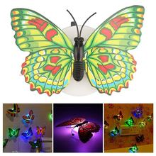 Colorful Changing Butterfly Led Night Light Lamp Home Room Wedding Party Desk Wall Decor With Suction Cup Children Gifts(China)