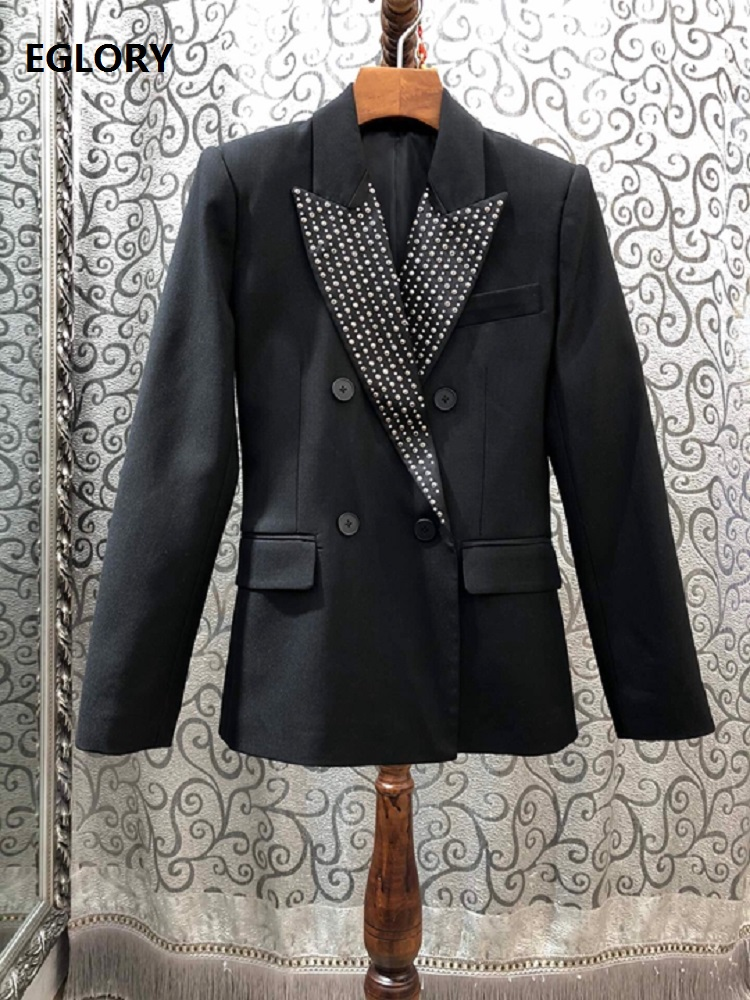 High Quality Blazer Jackets 2020 Spring Style Women Notched Collar Studs Beading Deco Long Sleeve Double Breasted Coats Blazer