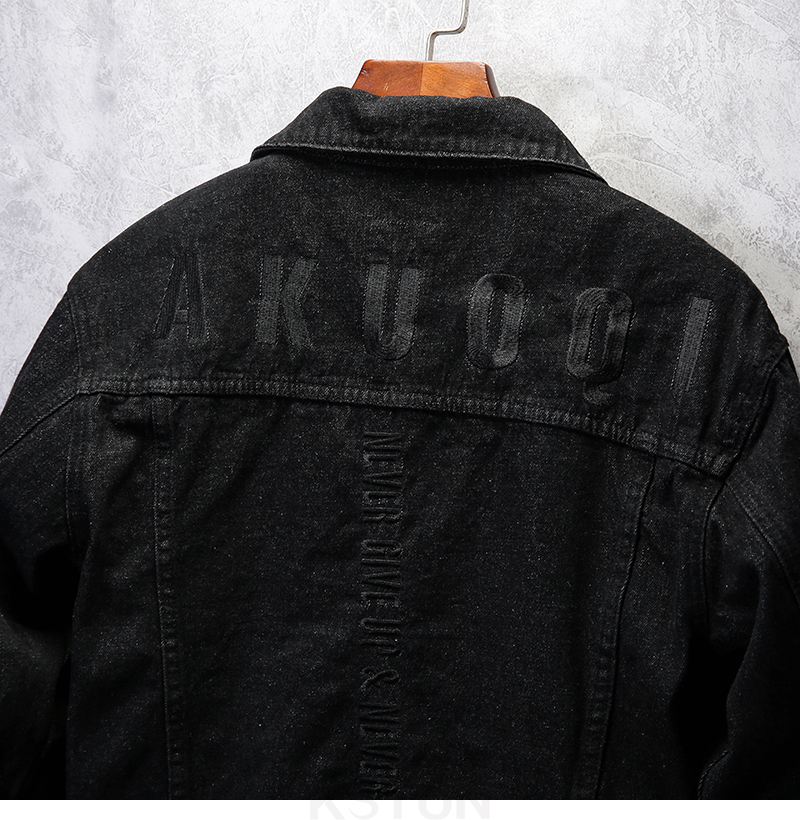 KSTUN Famous Brand Jean Jackets for Men Denim Jacket Solid Black Casual Embroidered Letters Fashion Desinger Man Classic Outwear Coats 13
