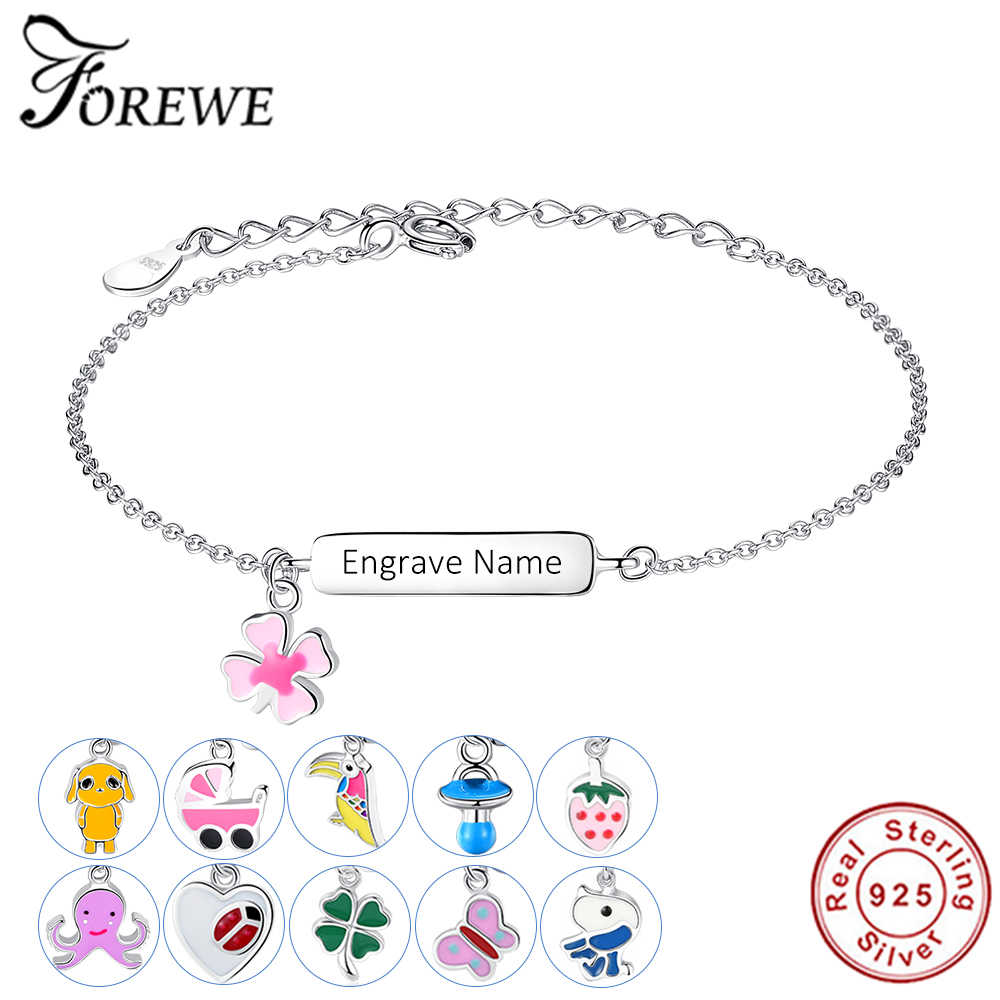 FOREWE Free Engrave Name Bracelet Personalized Bracelet For Children Girls 925 Sterling Silver Bracelet Customize Gift for Baby