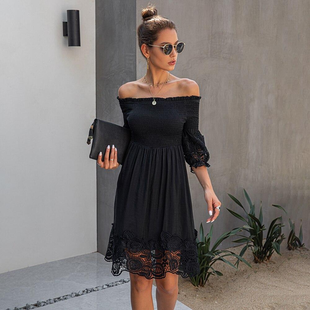 Vestido de noche fruncido con Espalda descubierta, encaje negro, elegante