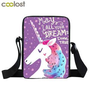 Мини-сумка-мессенджер с мультяшным единорогом, детские школьные сумки, маленькие сумки через плечо для путешествий, сумки для девочек, Книж...