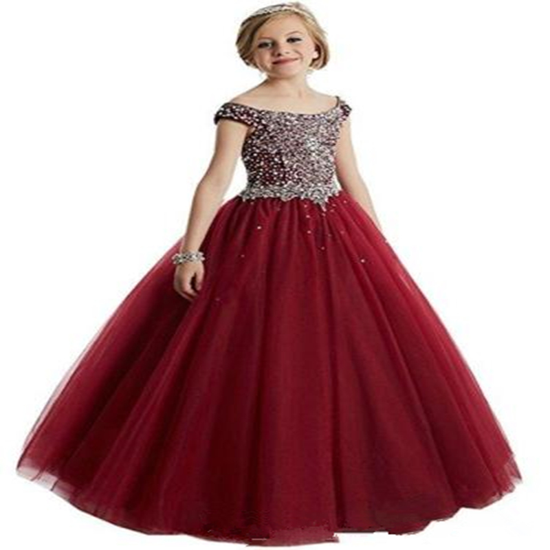 Luxurious Flower Girl Dresses For Weddings Tulle Princess Gown With Crystal Holy First Communion Dresses For Girls