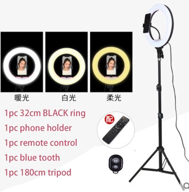 32 سنتيمتر Selfie مصباح مصمم على شكل حلقة 1 قطعة التحكم عن بعد 1 قطعة مصباح الأسنان الأزرق حامل للهاتف حامل التصوير للهواتف الذكية استوديو VK