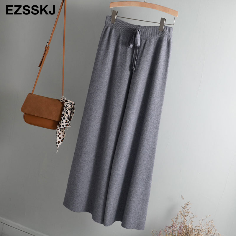 2019 autumn winter new THICK casual straight pants women female drawstring loose knitted wide leg pants casual Trousers 63