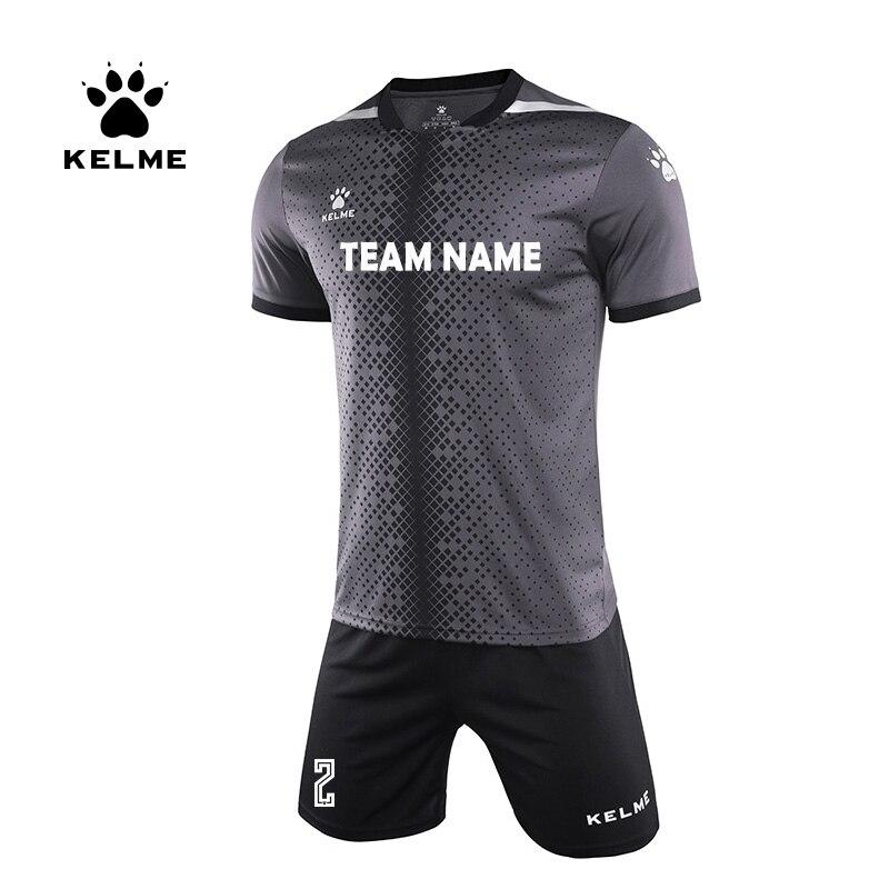 KELME Custom Men's Soccer Jerseys Men Football Uniform Summer Tracksuit Sportswear Short Sleeves Jersey Soccer Shorts 3801098