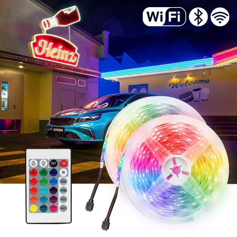 Цветная (RGB) Светодиодные ленты 12V светильник s Bluetooth WiFi Luces LED DC 5050 SMD2835 гибкий Водонепроницаемый лента диод дистанционного Управление светиль...