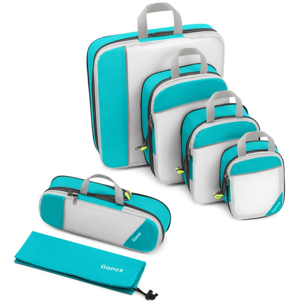 BLUE Packing Cubes for Travel 8Pcs Lightweight Luggage Packing Organizers Set with Shoe Bag /& Laundry Bag Foldable Suitcase Storage Bags