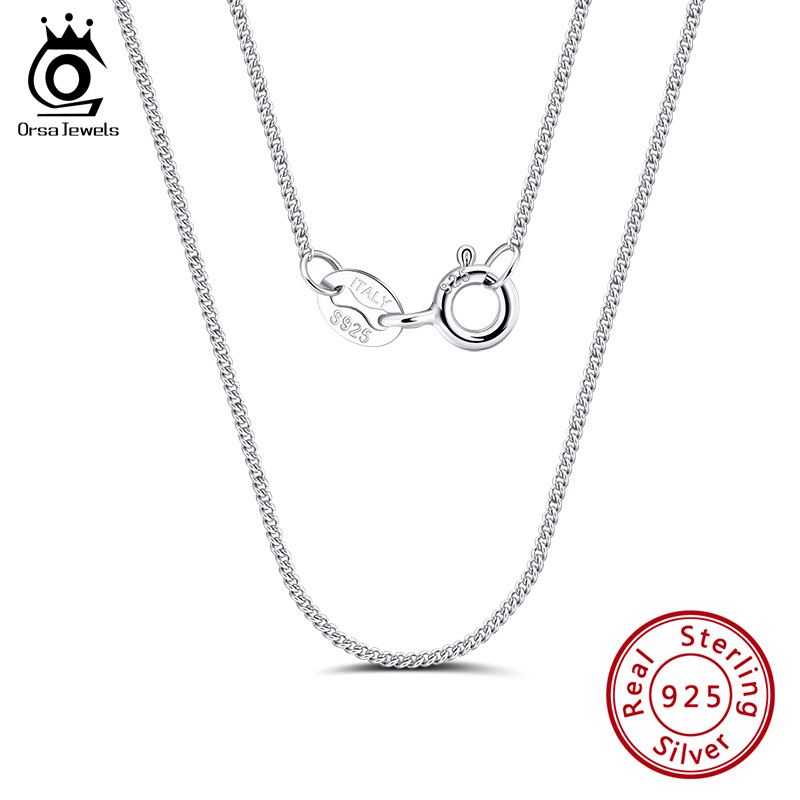 ORSA JEWELS Italian 925 Sterling Silver 1.0mm Side Chain Necklace Sterling Silver Pendant Necklaces Men Women Chain SC18-P(China)