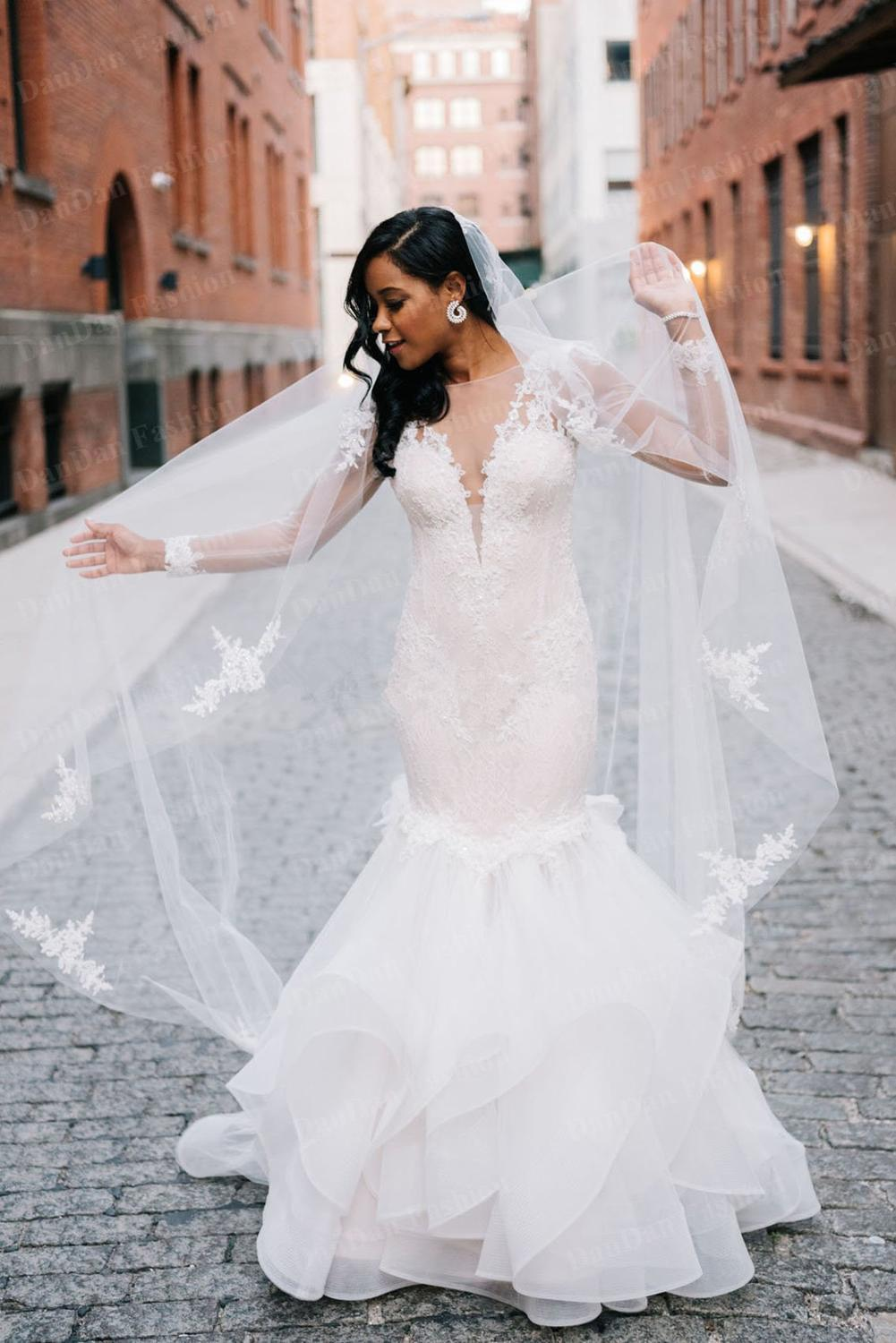 African Mermaid Wedding Dresses 2020 vestido de novia Long Sleeve Wedding Gowns Sheer Illusion Lace Bridal Dress Handmade