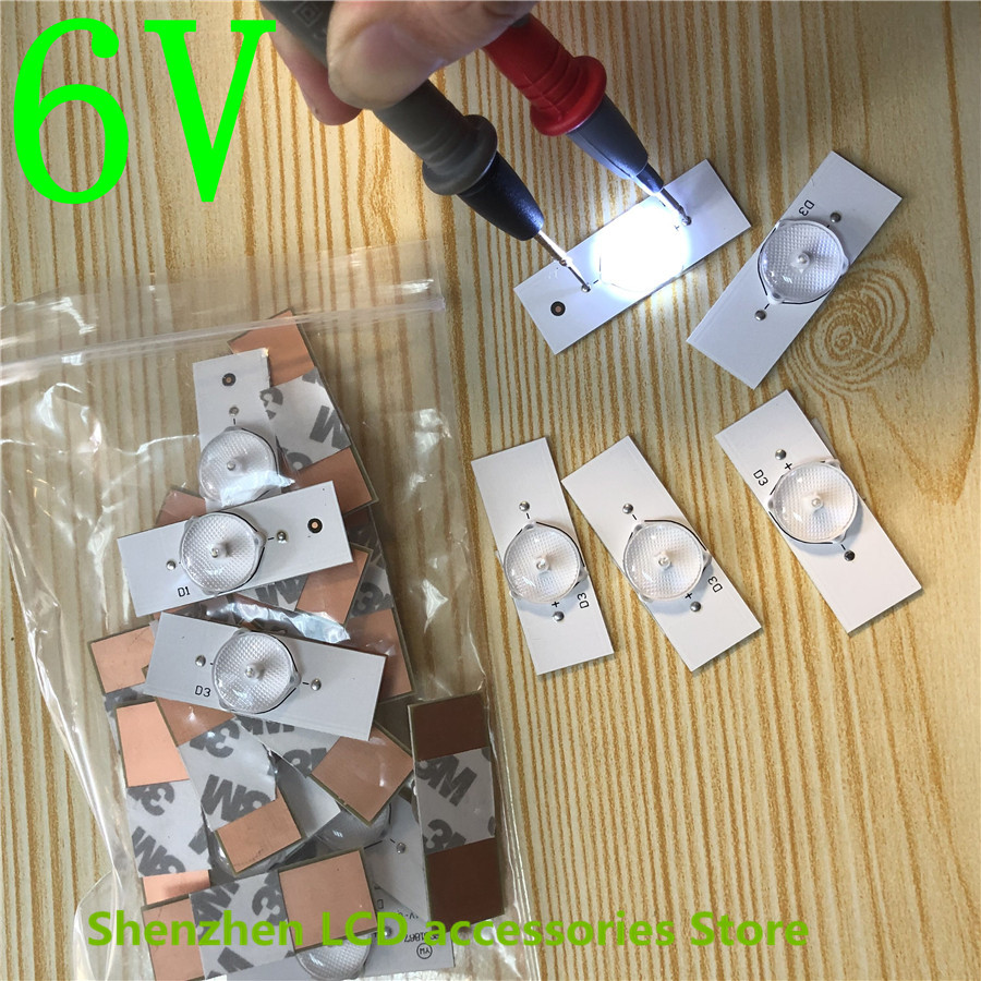 20pcs 3V LED Bulbs Diodes with Concave Lens for LED Backlight Strip Repair TV